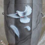 Bio-Urne Matt Hell Dunkel Grau mit Taube